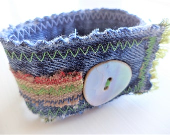 Bohemian Fabric Cuff Bracelet, Recycled Denim Bracelet,Denim Cuff,Fabric Cuff,Fabric Jewelry,Boho Cuff,Boho Bracelet,Fabric Jewelry