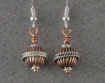 Steampunk Earrings Copper and Silver