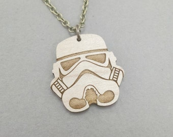 """Star Wars Stormtrooper Necklace - Maple Wood - Bronze or Silver Chain - 18"""" or 24"""""""