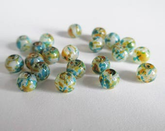 20 painted white speckled blue and orange glass beads 6mm