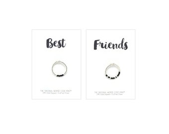 Best Friends Morse Code Rings, Best Friend Gift, Friendship, Birthday Gift, Best Friend Rings, Best Friend Jewelry, Long Distance, Matching