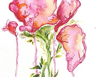 Pink Rose 5x7 Giclee Print of Original Watercolor