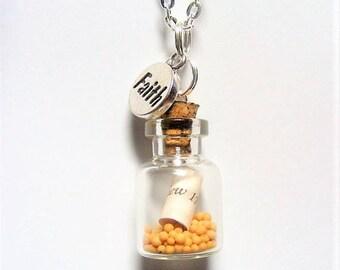 Mustard Seed Necklace, Mustard Seed Miniature Bottle, Mustard Seed Pendant, Christian Jewelry, Faith Necklace, Christian Necklace, Scripture