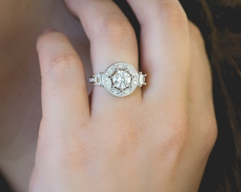 Art Deco Engagment Ring, Wedding Ring, Promise Ring, Vintage Inspired Engagement Ring, Diamond Simulants, Sterling Silver