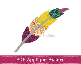 Feather Applique Pattern PDF Feather Applique Template
