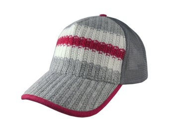 Cool Work Sock Red White Grey Knit Lumberjack Trucker Cap Style Full Fit Adjustable with Options to Personalize Side and Back Embroidery