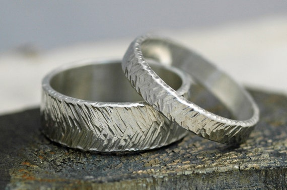Thick Herringbone Textured Sterling Silver Bands- His and Hers Matching Wedding Rings Custom Made