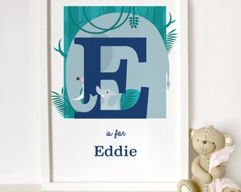 personalised elephant print, animal alphabet print, letter E name print, nursery print, gift for baby, gift for animal lover, mum and baby