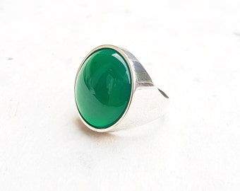 Green Chrysoprase Silver Ring, Sterling Silver 925, 20 mm Cabochon Gemstone, Round Ring, Gem Jewelry Gift for her, Fashione Big Ring