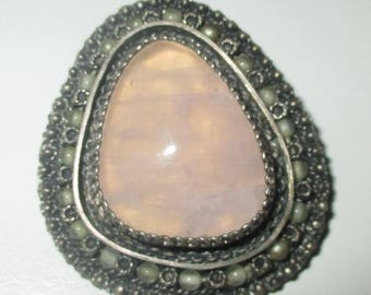 Vintage Cannetille Sterling Silver Rose Quartz Pendant Brooch Pin from Israel