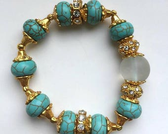 Turquoise and rock crystal bracelet