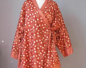 Kimono Jacket / Vtg / Orange Cotton Print Kimono style jacket