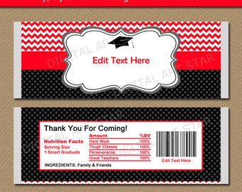 Graduation Candy Wrapper Template, Chocolate Bar Wrappers 2018 Graduation Party Favors, Printable Graduation Favors Red Black Chevron G3
