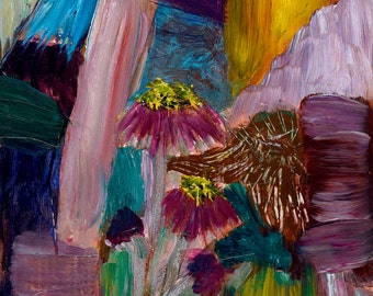 8x10 Original Acrylic Painting - Abstract Coneflowers framed