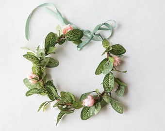 Greenery Flower Crown, Blush Flower Crown, Greenery Hair Piece, Bridal Floral Crown