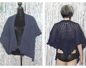 Deep Blue Shawl 100% Cotton Hand Knit Puncho - Shawl *Mint Condition