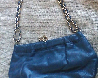 Blue Genuine Leather Handbag by Morris Moskowitz bag