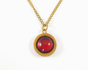 Small Red and Gold Sparkly Pendant and Necklace With Inscription - Secret of NIMH Amulet