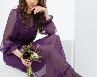 Purple chiffon double-layer dress, maxi chiffon dress, summer dress with ruffles by Nadi Renardi