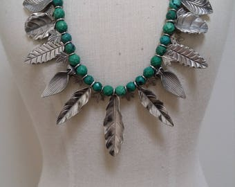 Green Turquoise and Sterling silver leaves necklace.