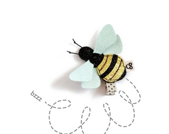 Bee Hair Clip - Bumble Bee Hair Accessory - Bee Hair Clip for Girls - Glitter Insect - Easter Gift for Little Girl