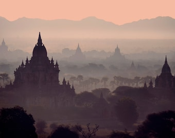 Sunrise in Bagan . Burma . Myanmar . Fine Art Photography . Temples .