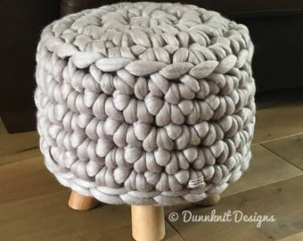 The Bunbury Bumper Footstool - Merino Wool Pouffe - Crocheted Footstool - Small Round Footstool