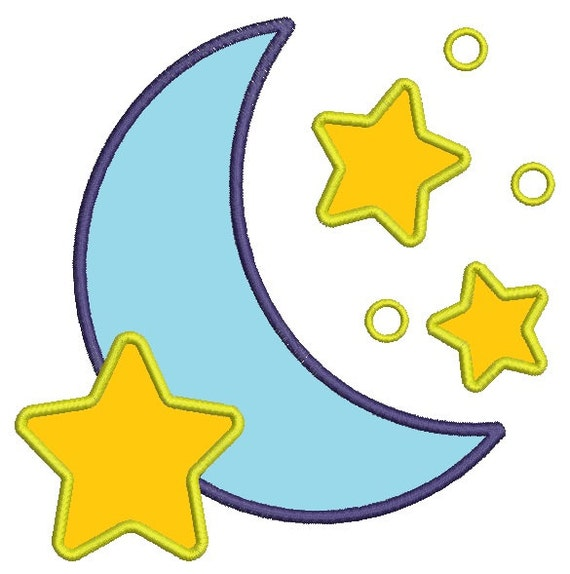 Moon And Stars Applique Machine Embroidery Design Tested