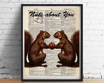 """Eichhörnchen-Kunstdruck """"Verrückt nach dir"""" Zitat, Liebe Valentinstag Geschenk, Tieren-Darstellung, Jubiläum Hochzeit Jahrgang Wörterbuch Page Giclee"""