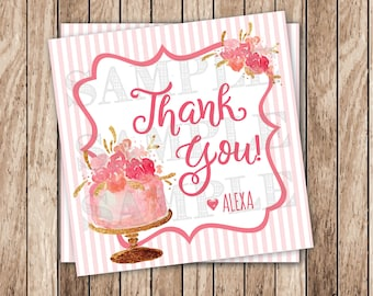 Printable Thank You Tags, Personalized Printable Blush Pink & Gold Favor Tags, Floral Birthday Cake Tags