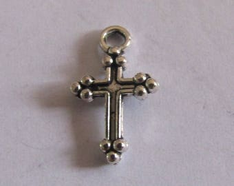 5 silver charms cross 15mmx9mm
