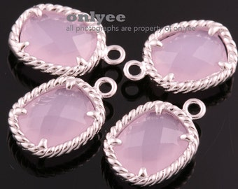 2pcs-13.5mmX9mmRhodium plated Brass Faceted Oval Framed glass pendants-IcePink(M350S-F)
