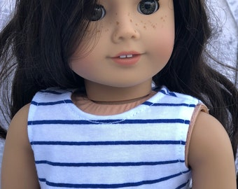 White with Royal Blue Stripes CROP TANK TOP for 18 Inch Doll