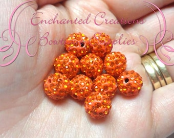 10mm Orange Pave Rhinestone Beads Qty 10, Clay Beads, Pave Jewelry Making, Sparkly Bead, Bling Bubblegum Beads, Chunky Beads, Gumball