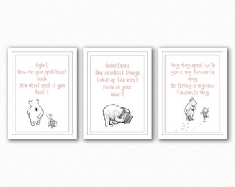 Winnie The Pooh Quote Trio - Black and white images
