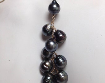 Big Tahitian Black Pearl Cluster Cascade Necklace