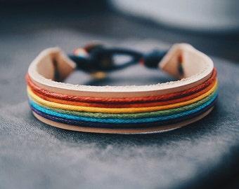 Women Leather Bracelet, Bracelet For Women, Rainbow Bracelet Personalized Gift For Girlfriend Leather Bracelet