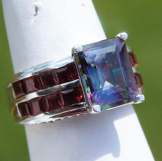 Mystic Topaz Garnet Ring / Size 6 / 4 CT Emerald Cut / Double Row Baguette Princess / Sterling Silver / Unique Engagement