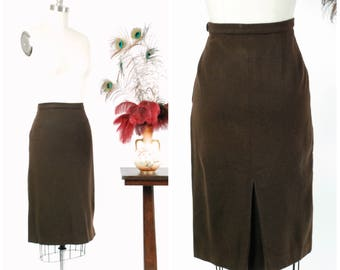 Vintage 1950s Skirt - Stylish Chocolate Brown Wool 50s Pencil Skirt with Rear Kick Pleat