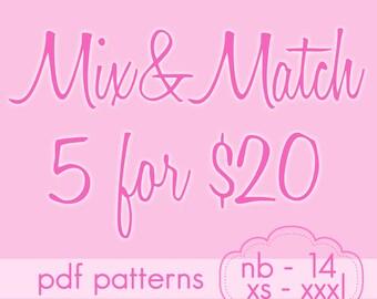 Pick any 5 Mix&Match Series Patterns and SAVE - Jocole PDF Sewing Patterns -