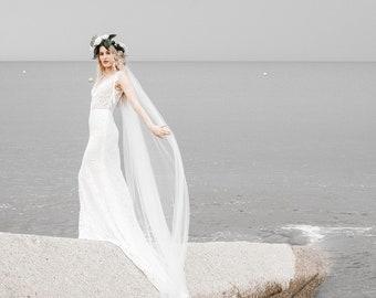 IVY Lace Wedding Dress, backless dress, bohemian dress, beach wedding dress, open back dress, ivory lace gown, mermaid dress, boho gown.