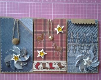 Gift card holders western theme set of 3 handmade