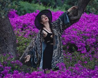 Mandala Kimono Robe Silky Cardigan Beach cover up Bohemian festival Oversized kimono Summer boho jacket