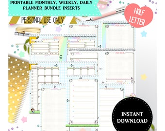 """Printable monthly, weekly and daily planner bundle - Planner inserts, 5.5"""" x 8.5"""", Half letter inserts, Printable planner inserts bundle"""