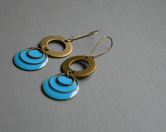 Earrings cyan blue sequin round enamel and metal color bronze