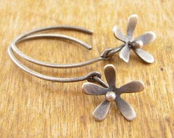 Silver flower earrings, short dangly flower earrings, hand-cut sterling silver.