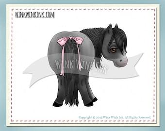 Digital stamp - Little Behind - shetland pony miniature horse digi image