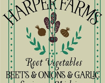 Euro Stencil Design ...   Harper Farms Root Vegetables 12x12 Stencil  for burlap pillows, bedding, sign painting