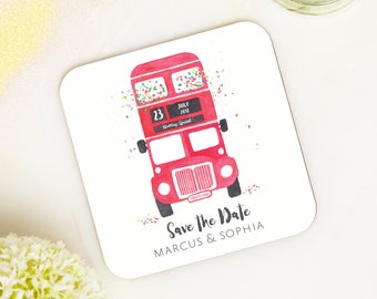 Save the date coaster - save the date - travel theme wedding - wooden save the date - wedding coaster - wedding announcement - custom invite