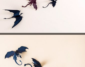 Game of Thrones inspired 3D Dragon Wall Art, Dragon Party Decorations, Game Room Decor, Fantasy Decor, dark blue & purple